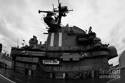 fisheye shot of the Flight deck island and bridges of the USS Intrepid at the Intrepid Sea Air Space Poster by Joe Fox
