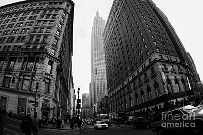 fisheye shot View of the empire state building from West 34th Street and Broadway junction Poster