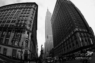 fisheye shot View of the empire state building from West 34th Street and Broadway new york city Poster