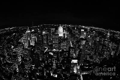 Fisheye View North At Night Towards Central Park New York City  Poster