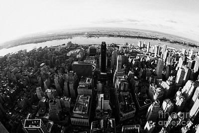 Fisheye View Of Manhattan West Towards Hudson River New York City Usa Poster by Joe Fox