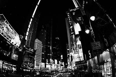 Fisheye View Of Times Square In Nighttime New York City Poster