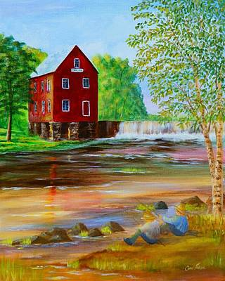 Poster featuring the painting Fishin' At The Old Mill by Chris Fraser