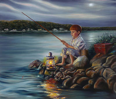 Fishing At Dusk Poster