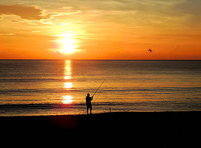 Fishing At Sunrise Poster