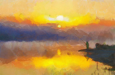 Fishing At Sunset Poster by Yury Malkov