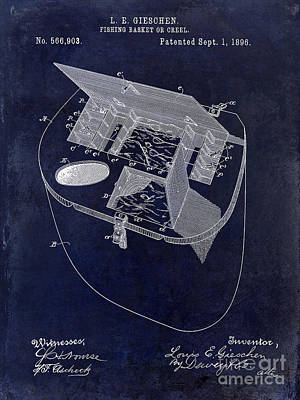 Fishing Basket Or Creel Patent Drawing Blue Poster by Jon Neidert