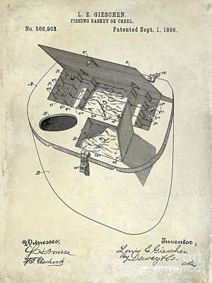 Fishing Basket Or Creel Patent Drawing Poster by Jon Neidert