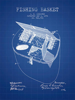 Fishing Basket Patent From 1896 - Blueprint Poster by Aged Pixel