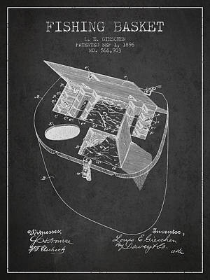 Fishing Basket Patent From 1896 - Charcoal Poster by Aged Pixel