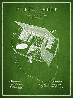 Fishing Basket Patent From 1896 - Green Poster by Aged Pixel