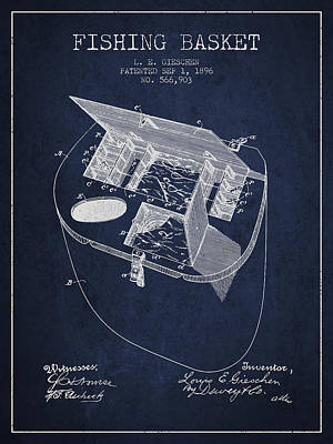 Fishing Basket Patent From 1896 - Navy Blue Poster