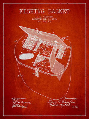 Fishing Basket Patent From 1896 - Red Poster by Aged Pixel