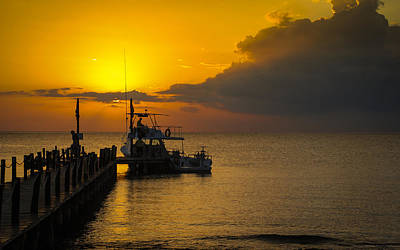 Fishing Boat At Sunset Poster