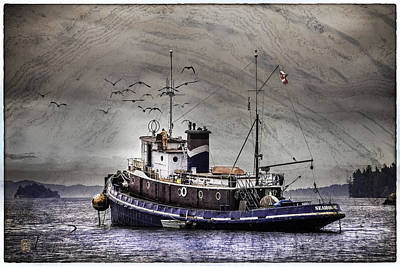 Poster featuring the mixed media Fishing Boat by Peter v Quenter