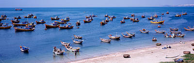 Fishing Boats At A Harbor, Mui Ne Poster by Panoramic Images