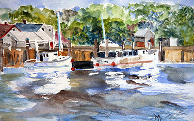 Poster featuring the painting Fishing Boats At Rock Harbor by Michael Helfen