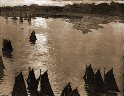 Fishing Boats At Sunrise, Lie, Jonas, 1880-1940 Poster