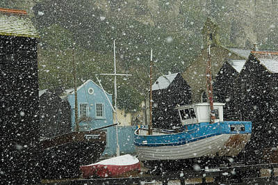 Fishing Boats Covered With Snow In Old Poster by Chris Parker