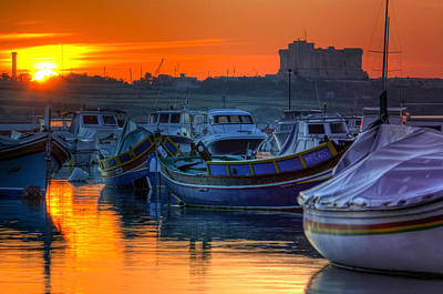 Fishing Boats In Birzebuggia Harbour Poster