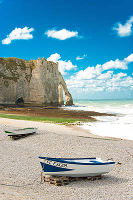 Fishing Boats On The Beach At Etretat Poster by Loriental Photography