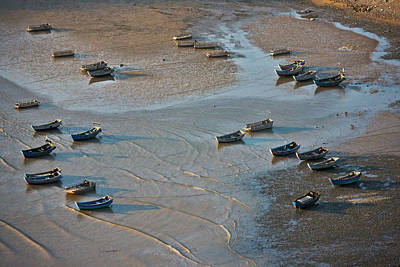 Fishing Boats On The Muddy Beach, East Poster by Keren Su