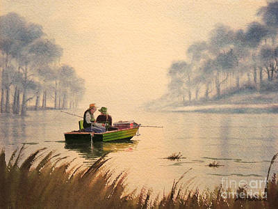 Fishing By Sunrise Poster