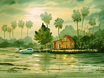 Fishing Cabin - Aucilla River Poster by Bill Holkham