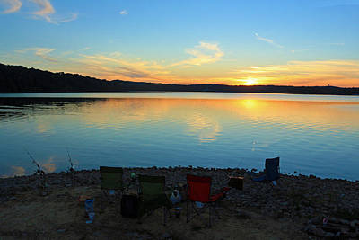 Fishing Campsite At Sunset Poster by Lorna Rogers Photography