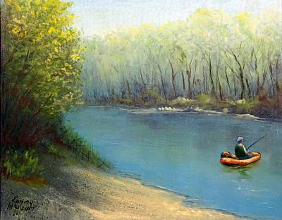 Poster featuring the mixed media Fishing Float by Kenny Henson