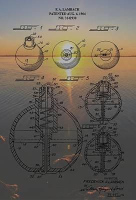Fishing Float Patent Sunrise Poster