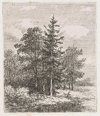 Fishing For A Group Of Trees, Johannes Pieter Van Wisselingh Poster by Johannes Pieter Van Wisselingh