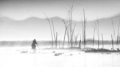 Fishing In A Misty Morning Poster