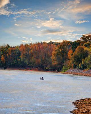 Fishing In Autumn - River Scene Poster by Jai Johnson