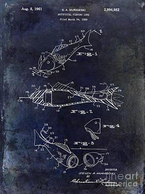 Fishing Lure Patent 1959 Blue Poster by Jon Neidert