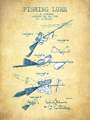Fishing Lure Patent Drawing From 1929 - Vintage Paper Poster