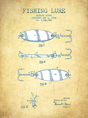 Fishing Lure Patent Drawing From 1964 - Vintage Paper Poster