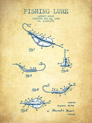 Fishing Lure Patent From 1964 - Vintage Paper Poster