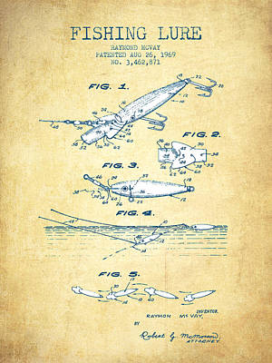 Fishing Lure Patent From 1969 - Vintage Paper Poster