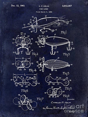 1961 Fishing Lures Patent Poster by Jon Neidert