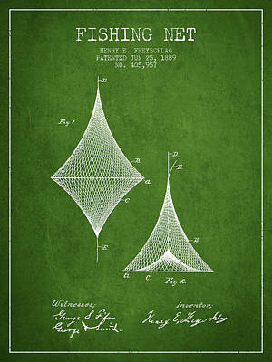Fishing Net Patent From 1889- Green Poster by Aged Pixel