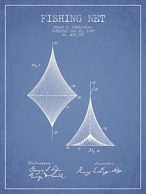 Fishing Net Patent From 1889- Light Blue Poster by Aged Pixel
