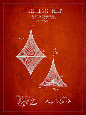 Fishing Net Patent From 1889- Red Poster by Aged Pixel
