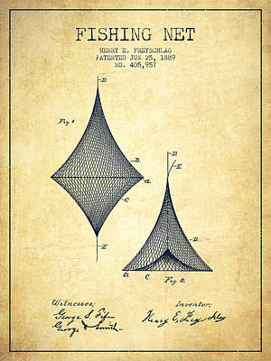 Fishing Net Patent From 1889- Vintage Poster by Aged Pixel