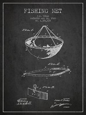Fishing Net Patent From 1920- Charcoal Poster by Aged Pixel