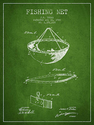 Fishing Net Patent From 1920- Green Poster by Aged Pixel