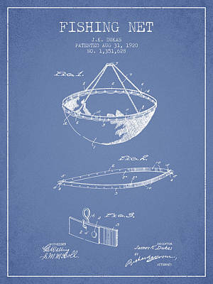 Fishing Net Patent From 1920- Light Blue Poster by Aged Pixel