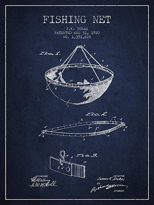Fishing Net Patent From 1920- Navy Blue Poster by Aged Pixel