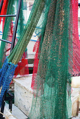 Fishing Nets On A Shrimp Boat Poster by Jim West