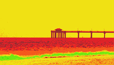 Fishing Pier In Red Poster by Laurie Pike